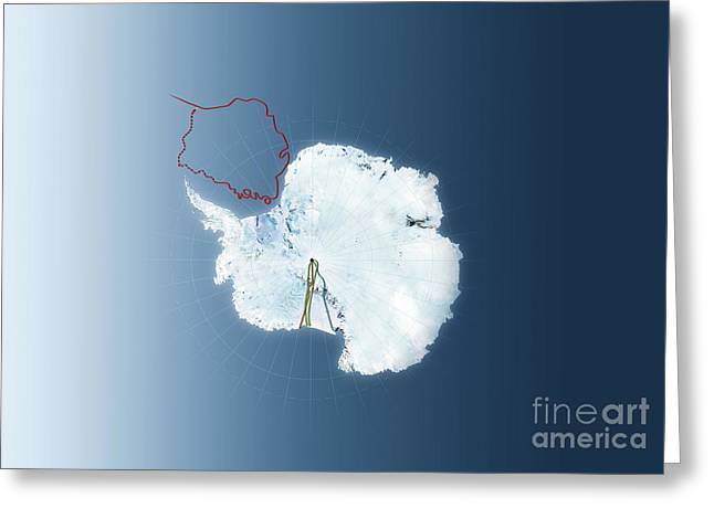 20th Greeting Cards - Antarctic Exploration, Route Maps Greeting Card by Mikkel Juul Jensen / Bonnier Publications