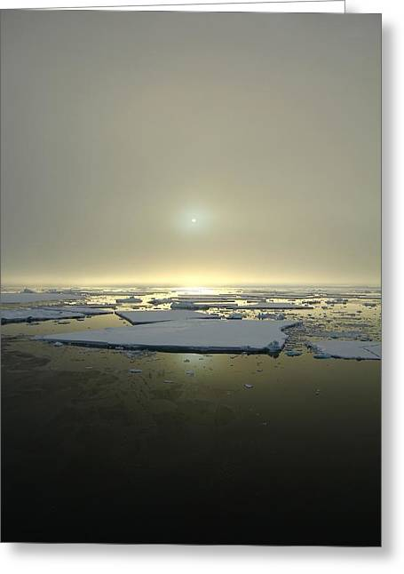 Verticle Greeting Cards - Antarctic Misty Sunset Greeting Card by FireFlux Studios