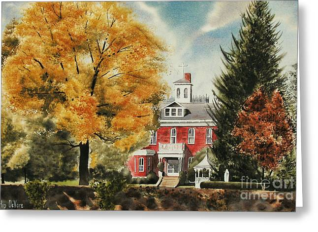 Fall Scenes Paintings Greeting Cards - Antebellum Autumn Ironton Missouri Greeting Card by Kip DeVore