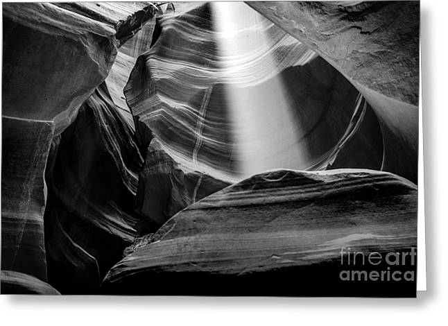 Black And White Nature Landscapes Greeting Cards - Antelope Canyon Beam 2 Greeting Card by Az Jackson