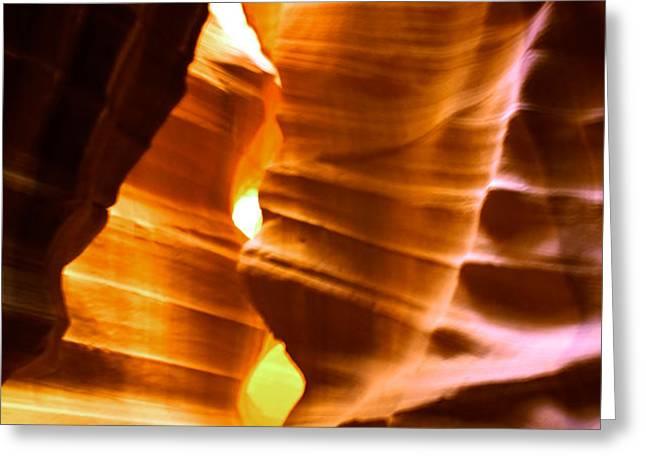 Antelope Canyon - Canyon Abstract Greeting Card by Aidan Moran