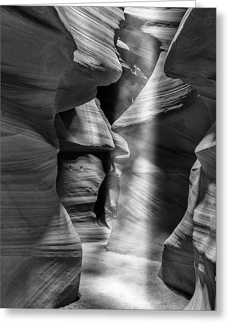 Fall Photos Greeting Cards - Antelope Canyon Light Beam Black and White Greeting Card by Adam Romanowicz