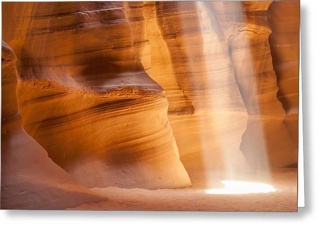 Antelope Canyon Light Beam Greeting Card by Melanie Viola