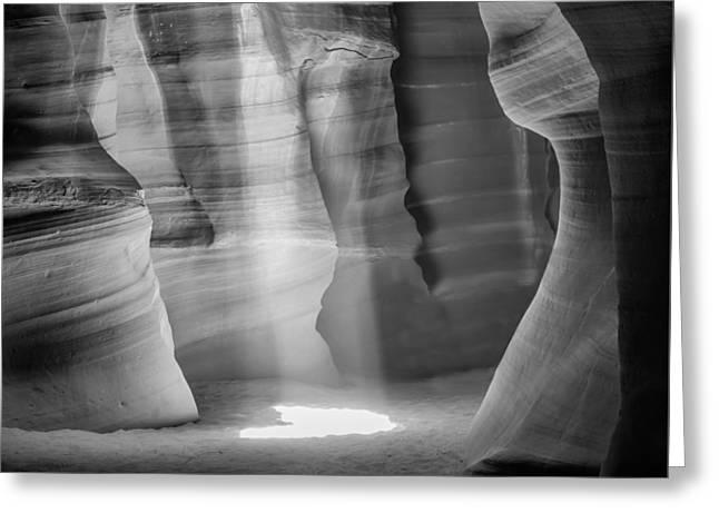 Antelope Canyon Lightbeam Bw II Greeting Card by Melanie Viola
