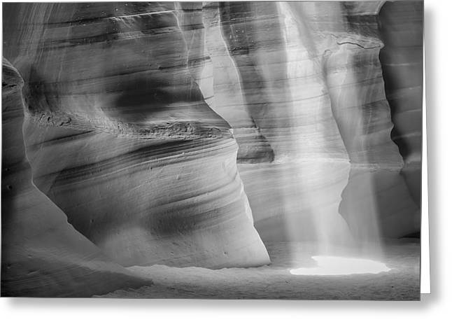 Spectacular Greeting Cards - ANTELOPE CANYON Lightbeam bw Greeting Card by Melanie Viola