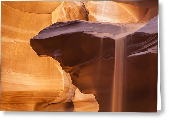 Layer Greeting Cards - Antelope Canyon Pouring Sand Greeting Card by Melanie Viola