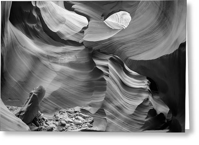 Spectacular Greeting Cards - Antelope Canyon Rock Formations bw Greeting Card by Melanie Viola