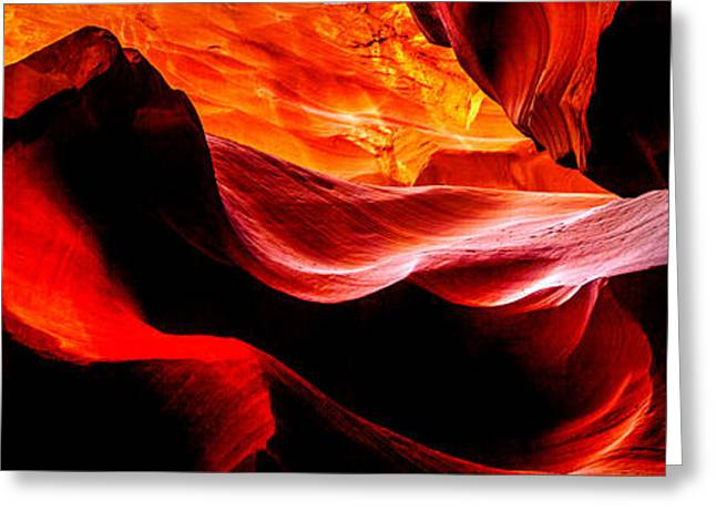 Illuminate Greeting Cards - Antelope Canyon Rock Wave Greeting Card by Az Jackson