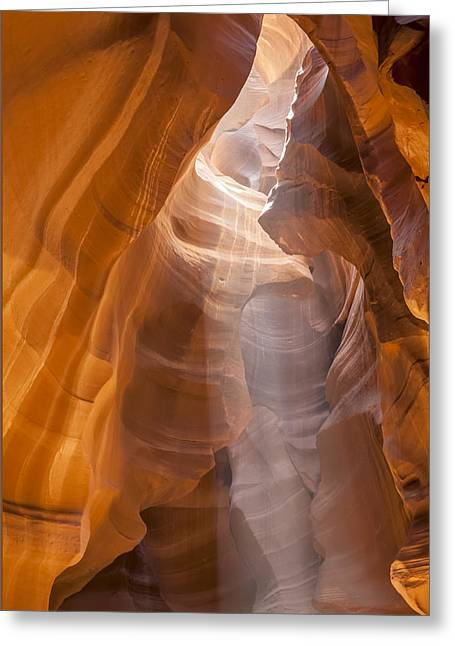 Antelope Canyon Shapes And Light Greeting Card by Melanie Viola