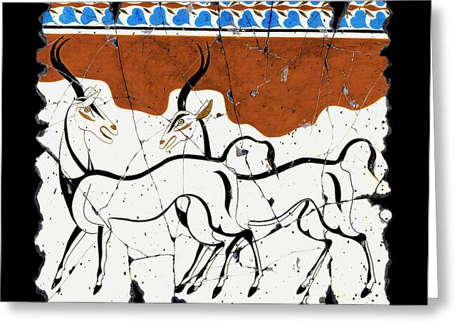 Ancient Greek Greeting Cards - Antelope of Akrotiri Greeting Card by Steve Bogdanoff