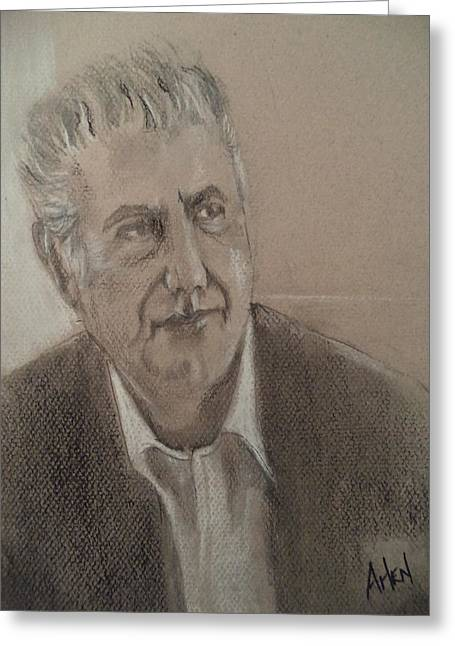 Famous Person Pastels Greeting Cards - Anthony Bourdain Greeting Card by Arlen Avernian Thorensen