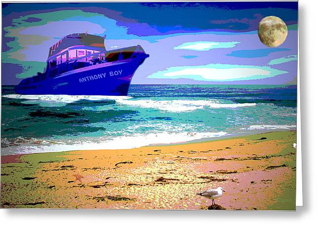 Storm Prints Digital Art Greeting Cards - Anthony Boys Blue Pacific Greeting Card by Joyce Dickens