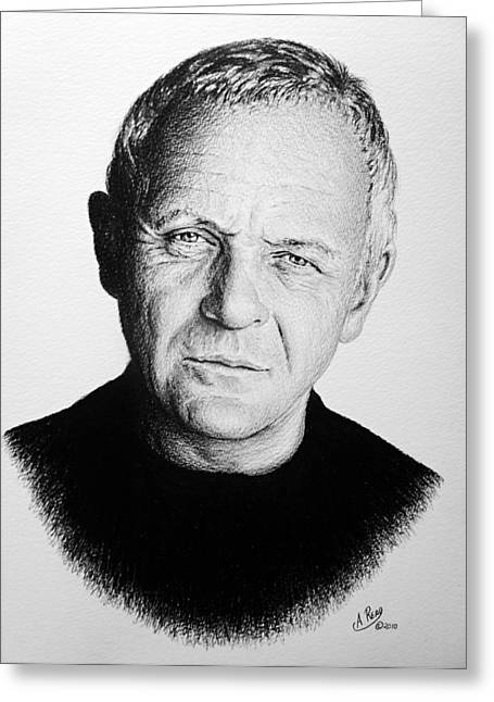 Read Images Greeting Cards - Anthony Hopkins Greeting Card by Andrew Read