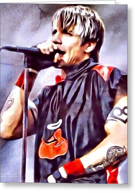 Red Hot Chili Peppers Greeting Cards - ANTHONY KIEDIS Portrait Greeting Card by Scott Wallace