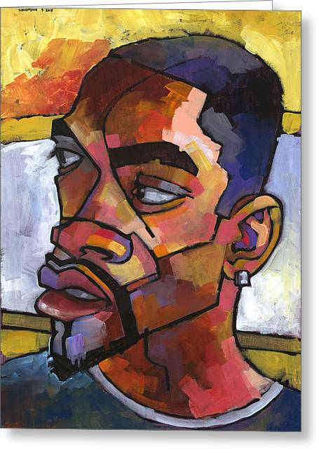 Black Man Paintings Greeting Cards - Anthony Waiting in the Car Greeting Card by Douglas Simonson