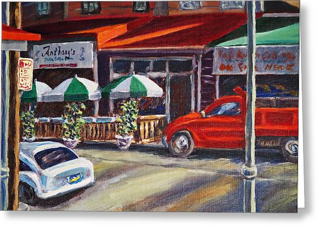 Phila Paintings Greeting Cards - Anthonys Greeting Card by Joseph Levine