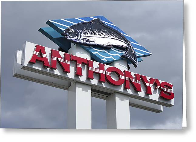 Spokane Greeting Cards - Anthonys Trout Sign Greeting Card by Daniel Hagerman