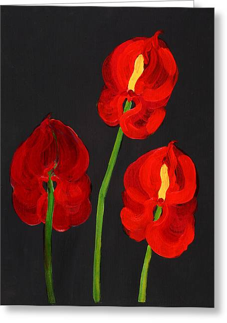 Exotic Plant Greeting Cards - Anthurium Acrylic On Paper Greeting Card by Deborah Barton
