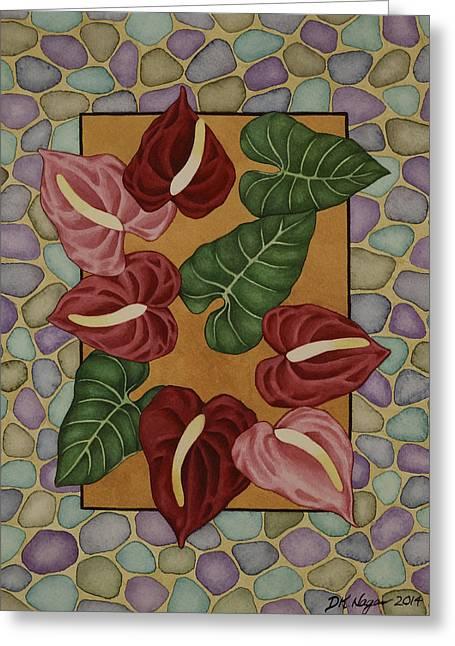 Dk Pink Greeting Cards - Anthurium Garden Greeting Card by DK Nagano