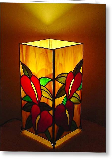 Tropical Stain Glass Glass Art Greeting Cards - Anthurium Garden stained glass lamp Greeting Card by DK Nagano