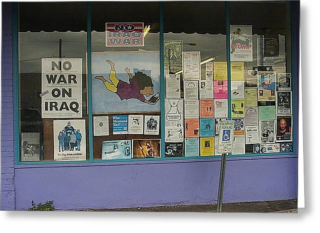 Iraq Posters Photographs Greeting Cards - Anti-Iraq War posters 4th avenue book store window Tucson Arizona 2000 Greeting Card by David Lee Guss