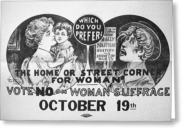 Anti-suffrage Poster, 1915 Greeting Card by Granger