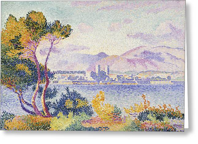 Port Town Greeting Cards - Antibes Afternoon Greeting Card by Henri Edmond Cross