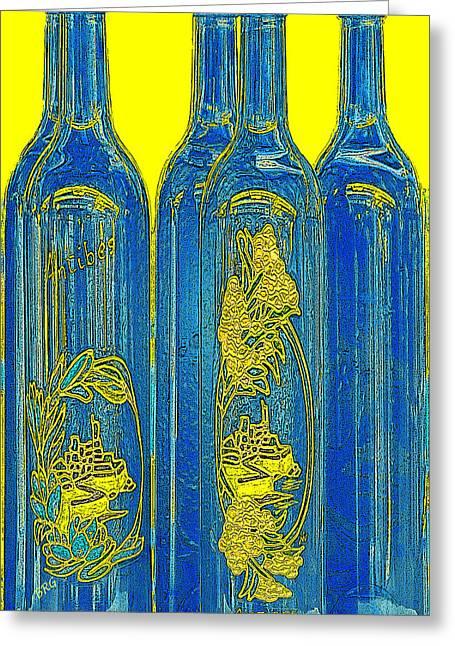Ben Gertsberg Greeting Cards - Antibes Blue Bottles Greeting Card by Ben and Raisa Gertsberg