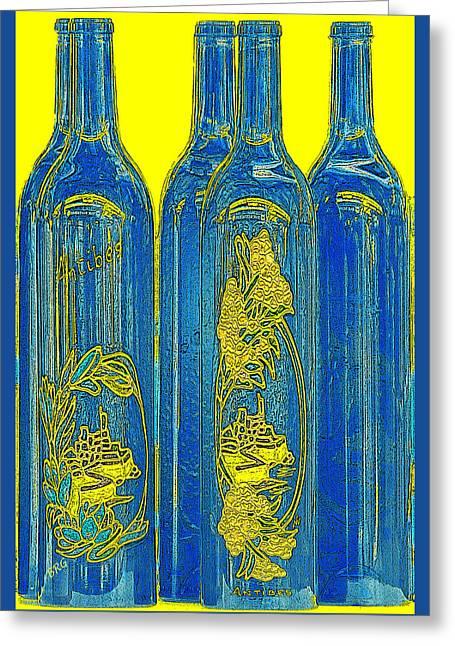 Gertsberg Greeting Cards - Antibes Blue Bottles Greeting Card by Ben and Raisa Gertsberg