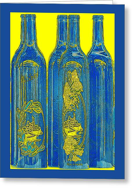 Antibes Greeting Cards - Antibes Blue Bottles Greeting Card by Ben and Raisa Gertsberg