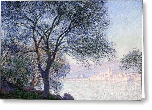 Seen Greeting Cards - Antibes seen from the Salis Greeting Card by Claude Monet