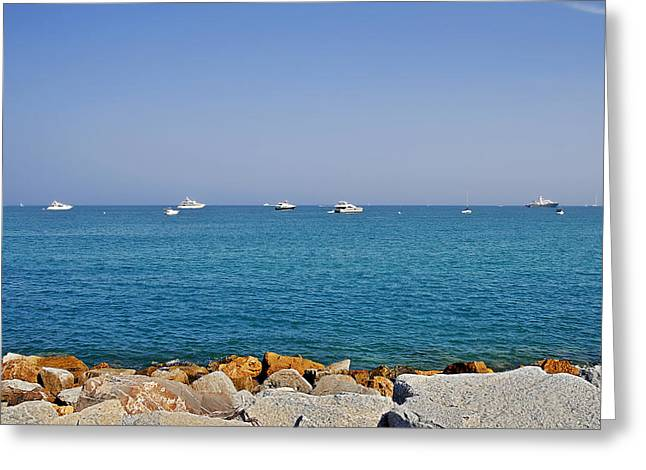 Wealthy Greeting Cards - Antibes - Superyachts of Billionaires Greeting Card by Christine Till