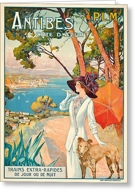Graphics Paintings Greeting Cards - Antibes Vintage Travel Poster Greeting Card by David Dellepiane