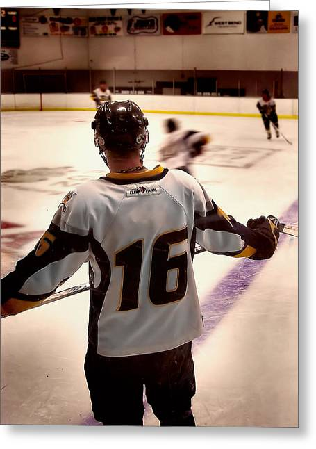 Hockey Guy Greeting Cards - Anticipating The Game Greeting Card by Gilbert Photography And Art