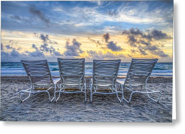 Adirondack Chairs On The Beach Greeting Cards - Anticipation Greeting Card by Debra and Dave Vanderlaan