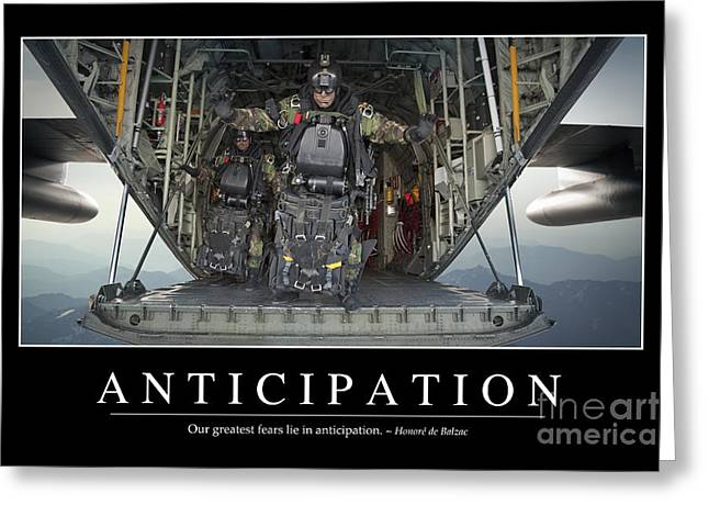 C-130 Greeting Cards - Anticipation Inspirational Quote Greeting Card by Stocktrek Images