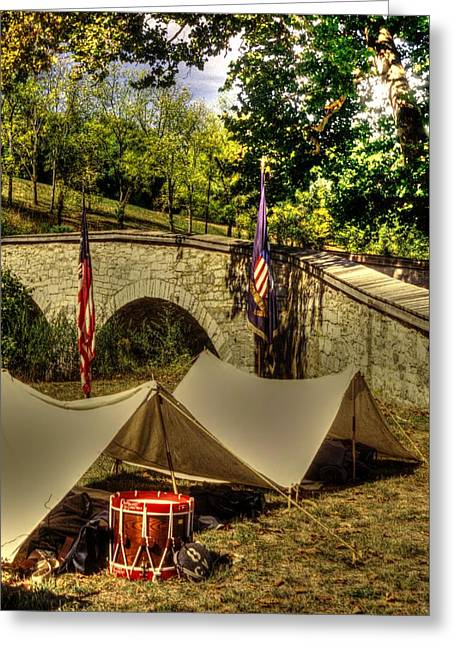 Union Connecticut Greeting Cards - Antietam - 8th Connecticut Volunteer Infantry-A1 Encampment Near the Foot of Burnsides Bridge Greeting Card by Michael Mazaika