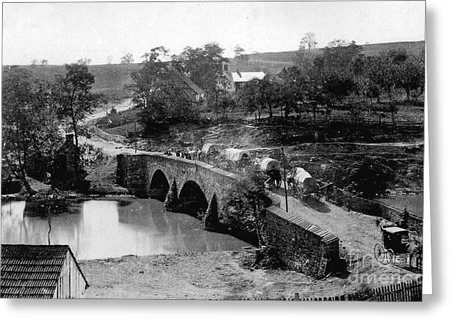 Civil War Battle Site Greeting Cards - Antietam Creek Bridge Greeting Card by Flamingo Graphix John Ellis