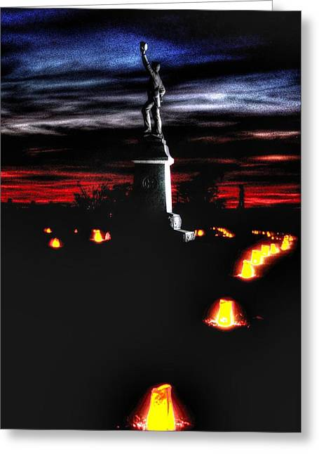 Division Greeting Cards - Antietam Memorial Illumination - 3rd Pennsylvania Volunteer Infantry Sunset Greeting Card by Michael Mazaika