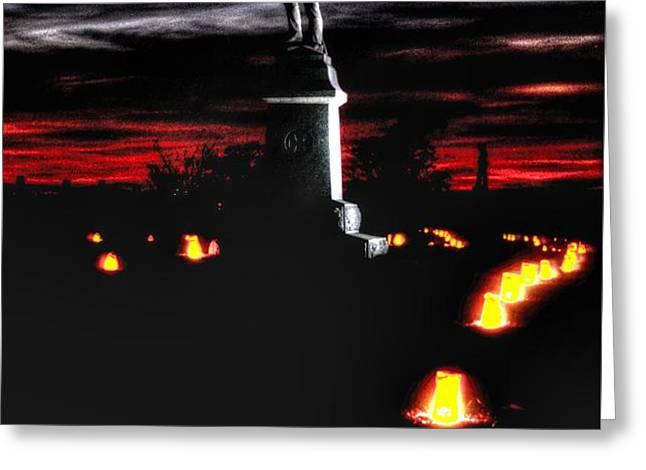Antietam Memorial Illumination - 3rd Pennsylvania Volunteer Infantry Sunset Greeting Card by Michael Mazaika
