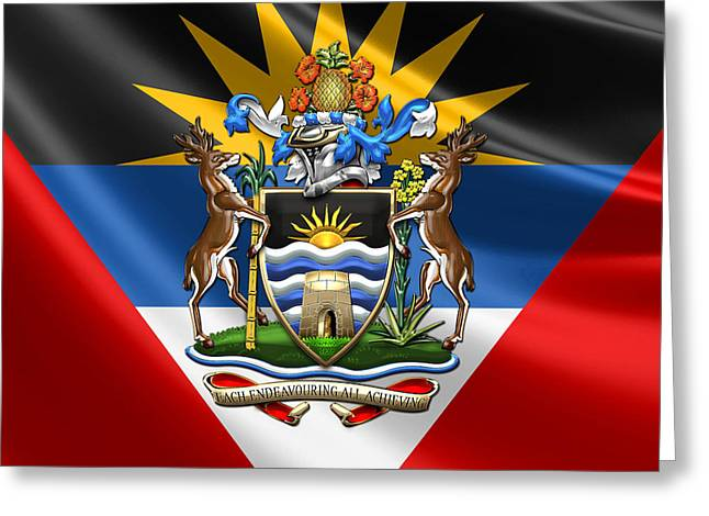 Coa Greeting Cards - Antigua and Barbuda - Coat of Arms over Flag  Greeting Card by Serge Averbukh