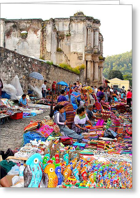 Marketplace Greeting Cards - Antigua Guatemala Greeting Card by Carey Chen