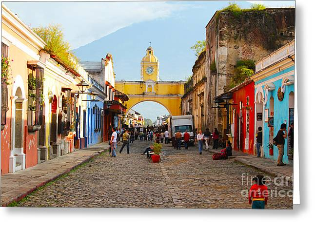 Mayans Greeting Cards - Antigua Guatemala clock Greeting Card by Carey Chen