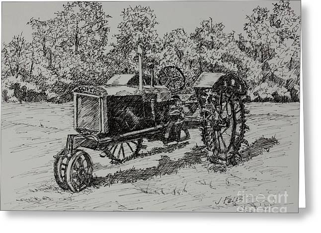 Tn Drawings Greeting Cards - Antigue Tractor Greeting Card by Janet Felts
