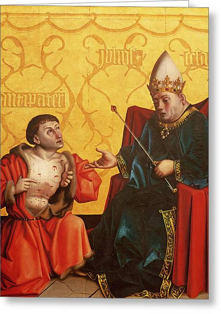 Prophecy Greeting Cards - Antipater Kneeling Before Juilus Caesar, From The Mirror Of Salvation Altarpiece, C.1435 Tempera Greeting Card by Konrad Witz