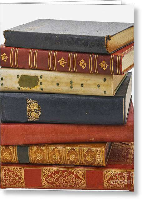 Poor Education Greeting Cards - Antiquarian leather books Greeting Card by Patricia Hofmeester