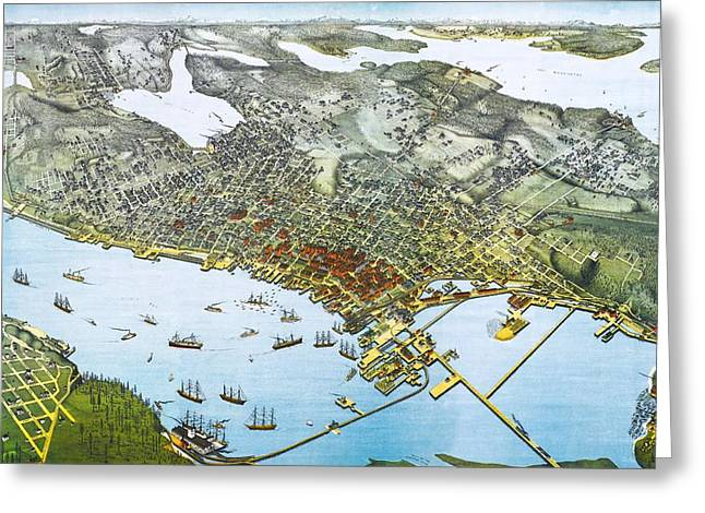 Pacific Northwest Mixed Media Greeting Cards - Antique 1891 Seattle Map Greeting Card by Dan Sproul