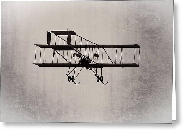 Airplane Greeting Cards - Antique 1910 Henri 3 Biplane  Airplane Takes Flight Greeting Card by Keith Webber Jr