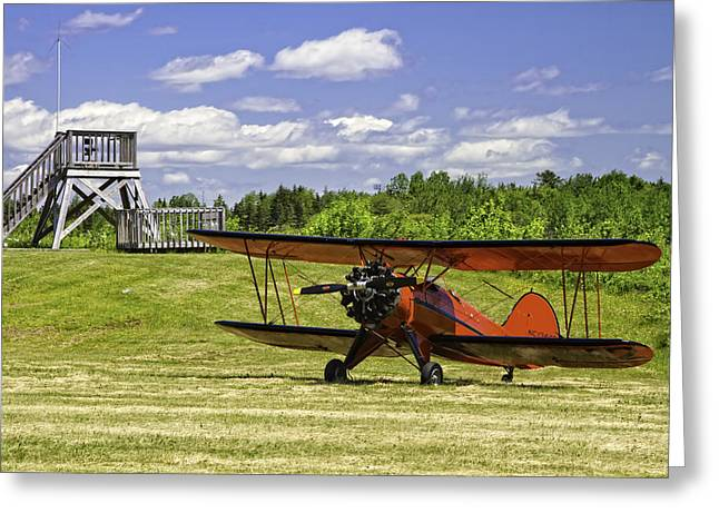 Airfield Greeting Cards - Antique 1931 WACO UBF-2 Biplane    Greeting Card by Keith Webber Jr