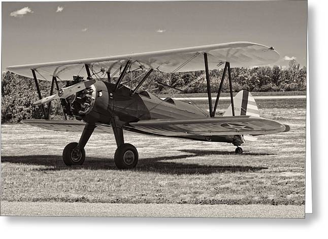 Airfield Greeting Cards - Antique 1941 Stearman A75N/1 Biplane Airplane Greeting Card by Keith Webber Jr